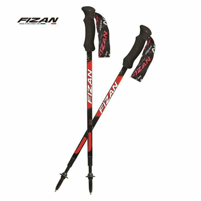 【【蘋果戶外】】成對銷售 FIZAN【紅】超輕三節式健行登山杖2入特惠組 超輕158g 超短58-132cm