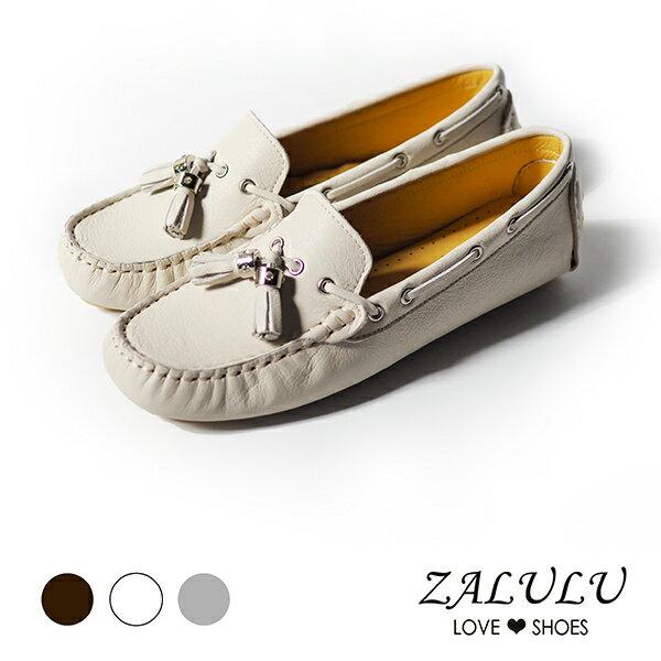 Z0101質感輕著.英倫流蘇扣飾牛皮豆豆鞋-灰色米色咖啡-35-39