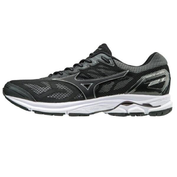 MIZUNOWAVERIDER21男鞋慢跑馬拉松輕量透氣避震黑【運動世界】J1GC180309
