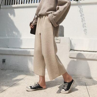 純色針織休閒褲鬆緊長褲闊腿褲寬褲樂天時尚館。現貨。[全店免運]