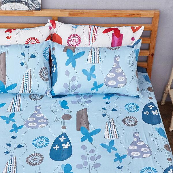 床包兩用被套組雙人-100%精梳棉【花都香榭-藍】含兩件枕套,戀家小舖,台灣製