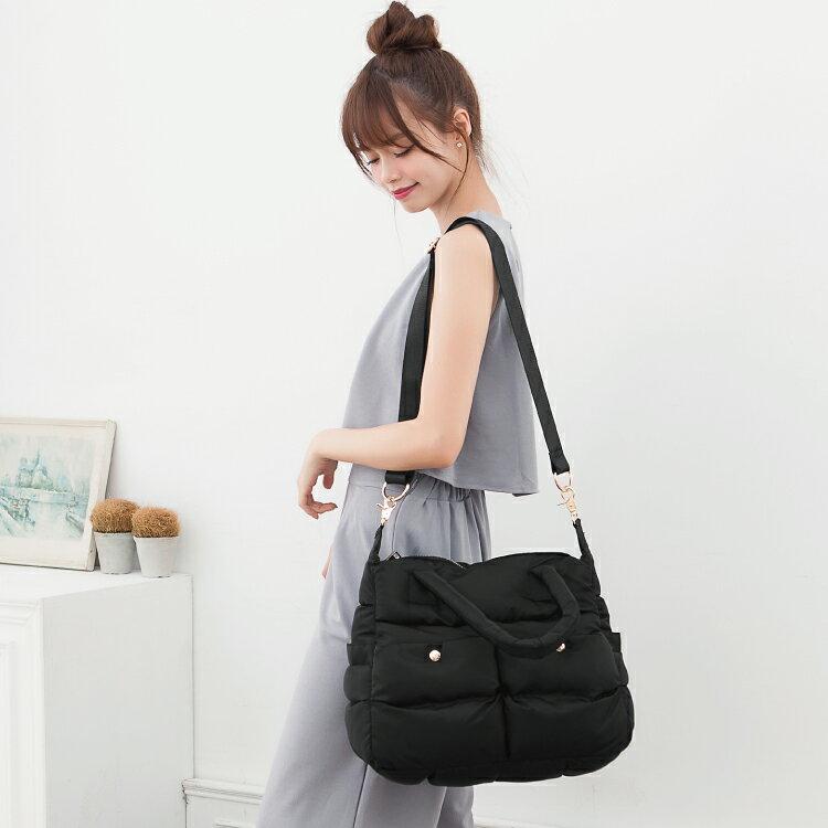 空氣包 側背包 斜背包 兩用素面雙口袋設計媽媽包 女包 89.Alley 0