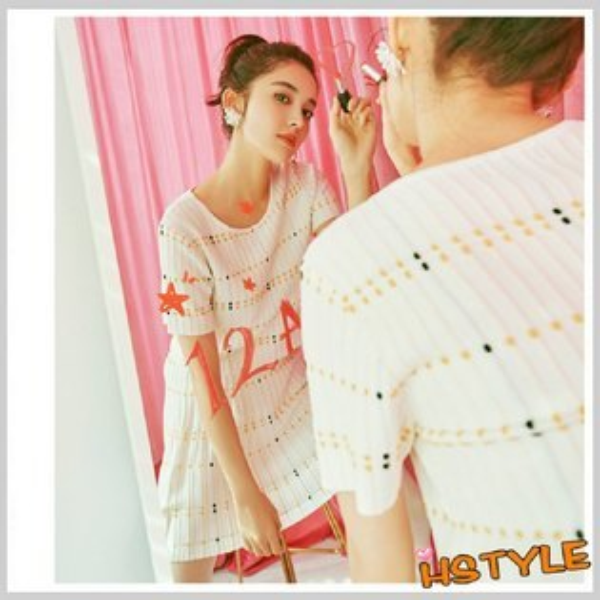 套裝質感印花OL短袖短裙子套裝EK8083-創翊韓都