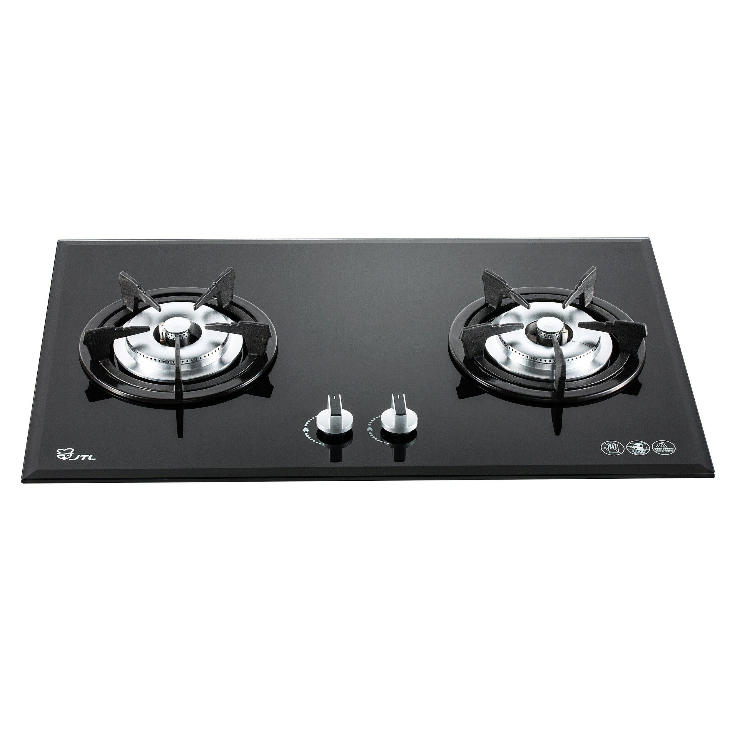 喜特麗檯面式雙口黑玻璃瓦斯爐/JT-2203A/天然