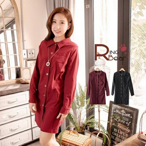 洋裝--專業時尚感開襟素面襯衫領排釦連身長袖洋裝(黑.紅L-3L)-A183眼圈熊中大尺碼