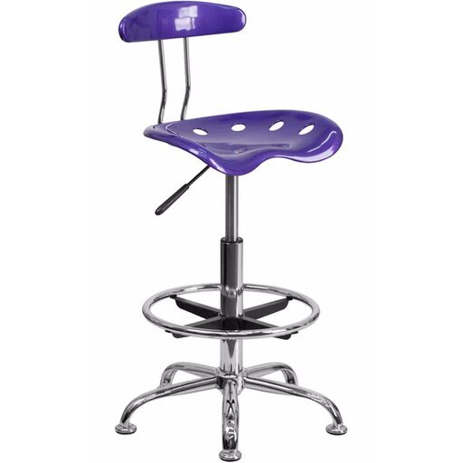 Offex Vibrant Violet and Chrome Drafting Stool with Tractor Seat [OF-LF-215-VIOLET-GG] 91e281ad54de2b91f1697c25715ba565
