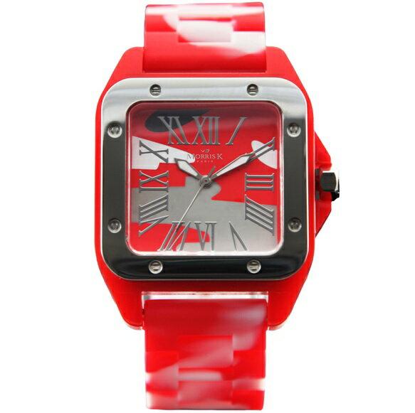 【Morris K】羅志祥代言 舞極限方型休閒潮流腕錶 迷彩 38mm-MK13015-AA01