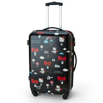 【真愛日本】16061600002行李箱L-KT紅結熱氣球黑   三麗鷗 Hello Kitty 凱蒂貓 行李箱 登機箱