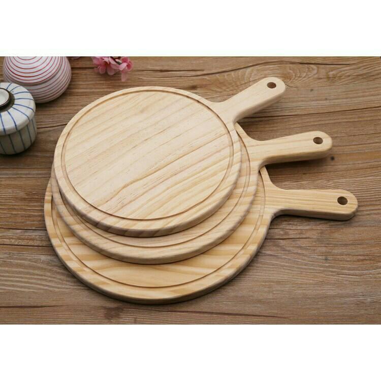 烘焙具匠6吋圓木質披薩板盤木托 實木西餐牛排盤子切pizza麵包板比薩板木托盤