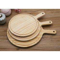 """""""烘焙具匠""""6吋圓木質披薩板盤木托 實木西餐牛排盤子切pizza麵包板比薩板木托盤"""
