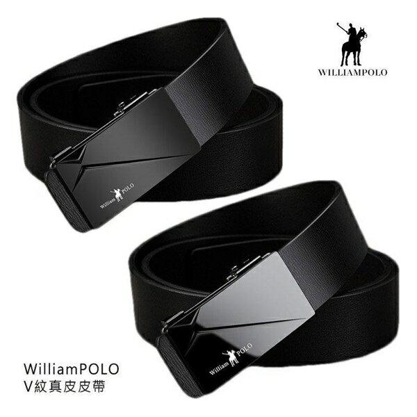 【愛瘋潮】99免運 WilliamPOLO V 紋真皮皮帶 自動扣設計,配戴舒適 125CM