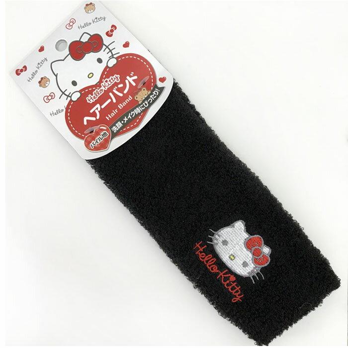 【真愛日本】17111000039 洗顏髮帶-KT黑 三麗鷗 kitty 凱蒂貓 美妝束帶 髮帶 日本帶回