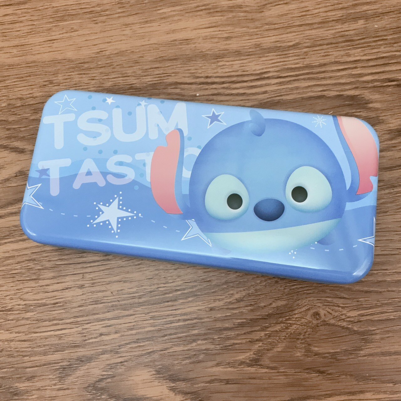【真愛日本】17121900004 超大鐵筆盒-TSUM史迪奇星星 迪士尼 鉛筆盒 鐵盒 收納盒