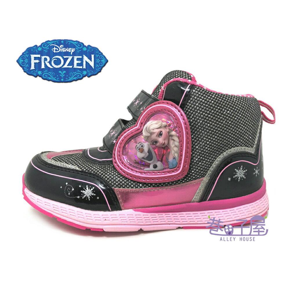 【巷子屋】DISNEY迪士尼 冰雪奇緣女童亮蔥超輕量高筒運動休閒鞋 [64200] 黑粉 超值價$298