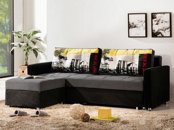 !新生活家具!《克洛伊》灰色布沙發沙發床L型沙發三人位沙發腳椅收納多功能兩色