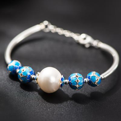 ~925純銀手鍊 珍珠手環~簡約 氣質優雅母親節情人節生日 女飾品73hm5~ ~~米蘭