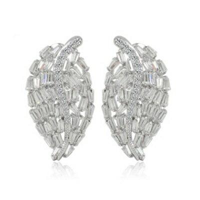 純銀耳環鍍白金鑲鑽耳飾~ 簡約精緻生日情人節 女飾品73cr280~ ~~米蘭 ~