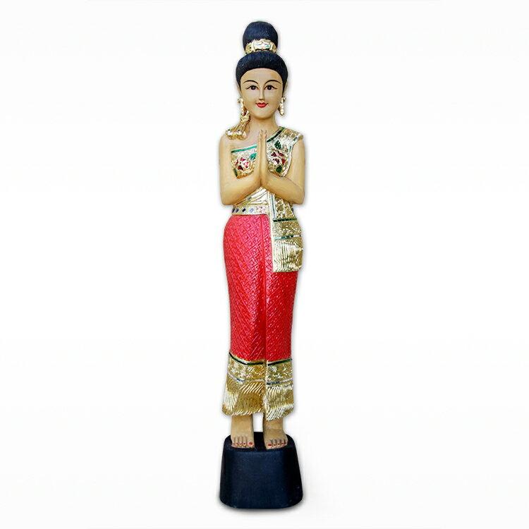 泰國迎賓女木雕人物薩瓦迪卡門童工藝品擺件東南亞特色家居裝飾品1入