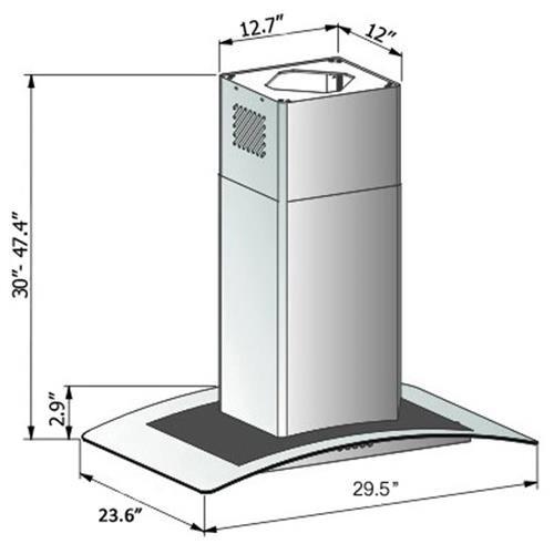 "AKDY 30"" GV9005P-30 Europe Style Stainless Steel Island Range Hood Unique Flat Baffle Filter Design 1"