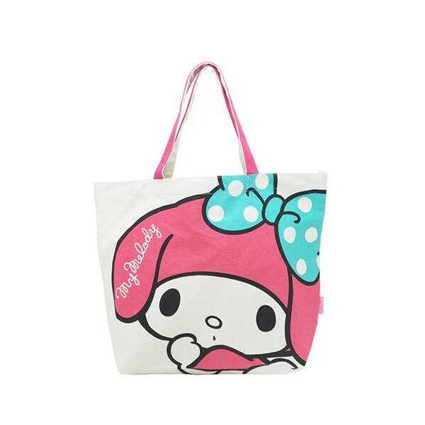 【真愛日本】15123000010帆布手提袋-MD大臉藍結米 三麗鷗家族 Melody 美樂蒂  手提袋 手提包 肩背包