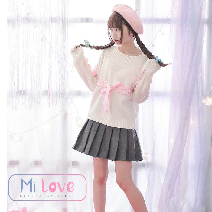 MiLove ↗ 秋冬款日系甜美毛呢小百褶褲裙 ☆【K52】