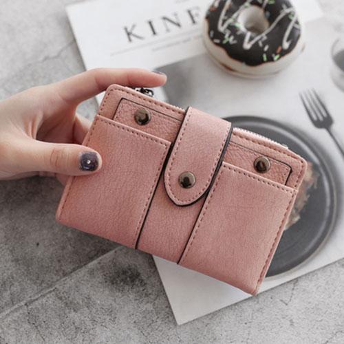 歐美兩折搭扣短夾皮夾錢包零錢包短款錢包
