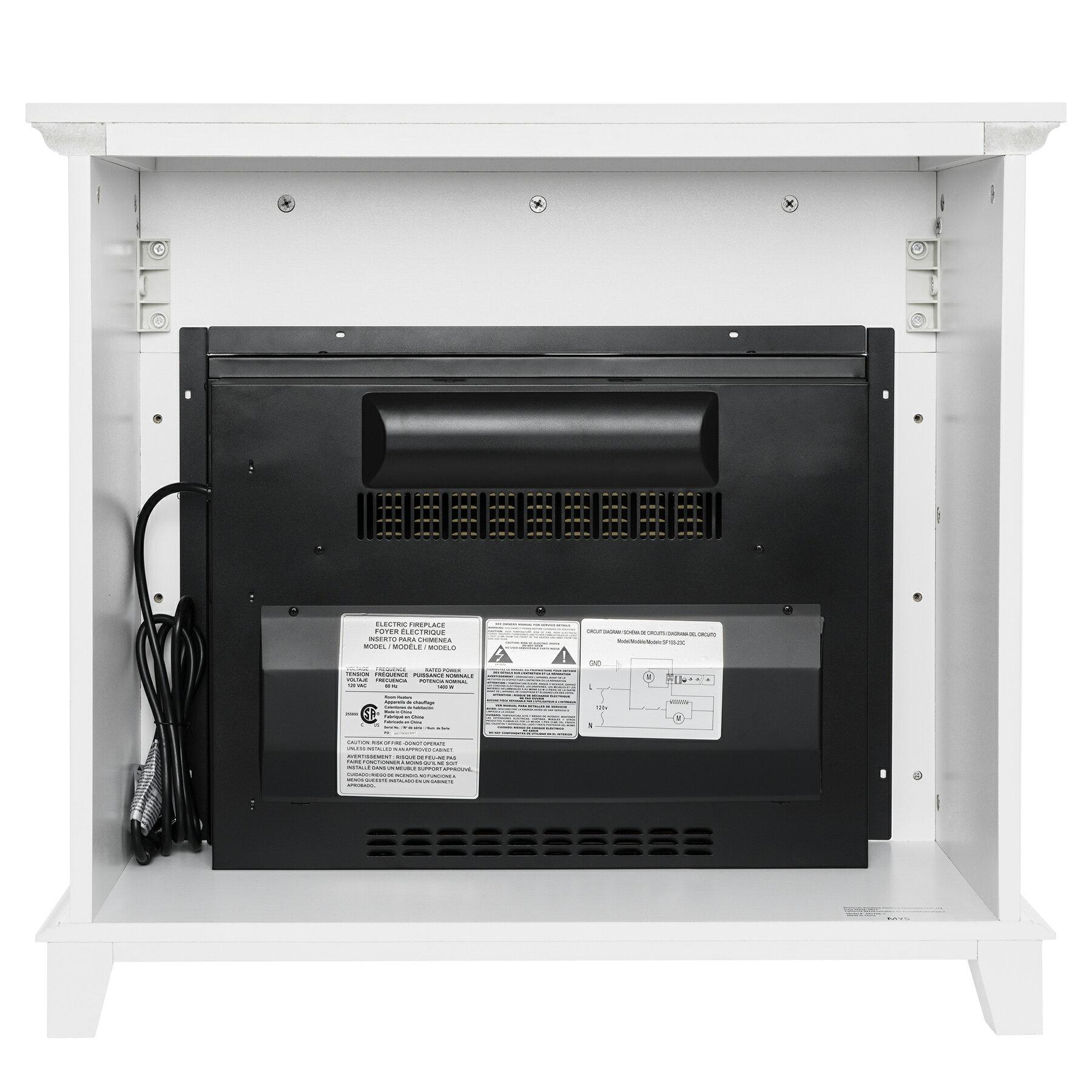 "AKDY 27"" Electric Fireplace Freestanding White Wooden Mantel Firebox 3D Flame w/ Logs Heater 2"