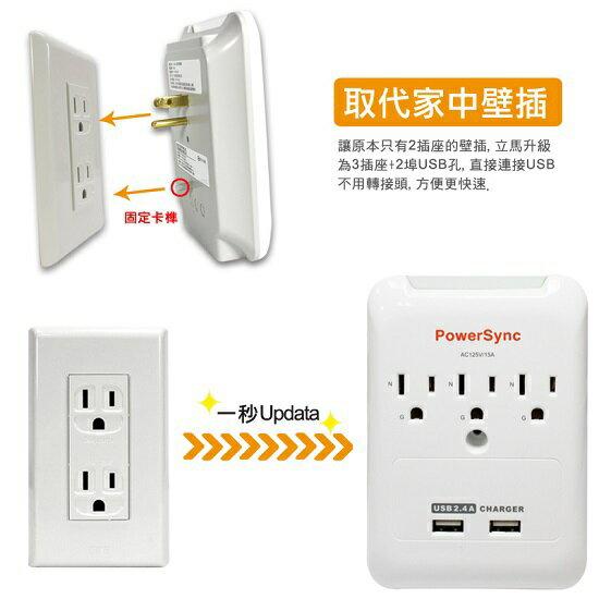 PowerSync群加 3插座+2USB LED指式壁插(TPAWN3OB0009) [大買家] 4