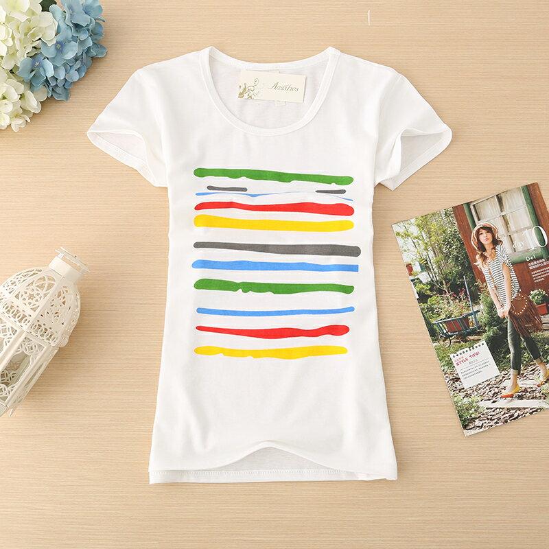 【滿3件,一件150元】流行簡單 修身 女生 短袖~ 塗鴉彩虹~棉T