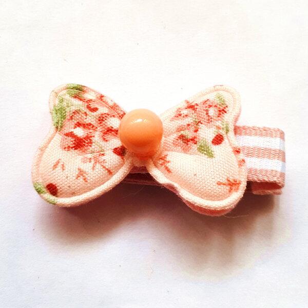 全包布髮夾.嬰兒髮夾AB5001-10粉色布藝雙層蝴蝶結鴨嘴夾瀏海夾日韓髮飾頭飾王子與公主
