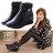 格子舖*【KRA06】極簡時尚名媛 奢華絨毛滾邊 楔型厚底增高皮革短筒靴 黑色 0