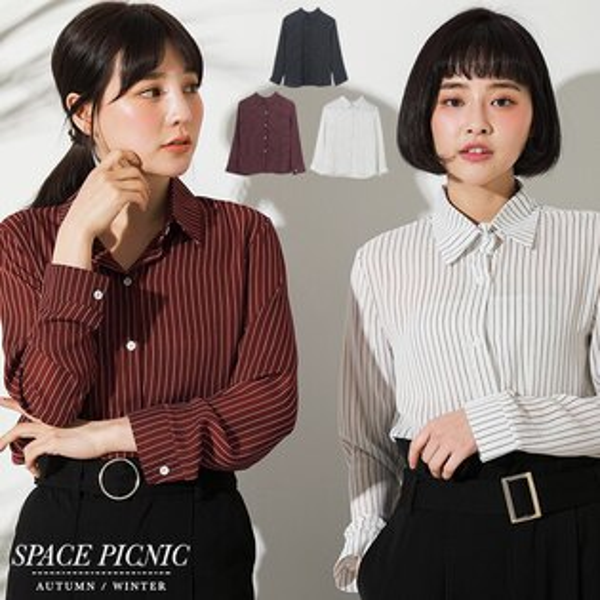 長袖襯衫SpacePicnic|現貨.細直條設計雪紡長袖襯衫【C18011072】