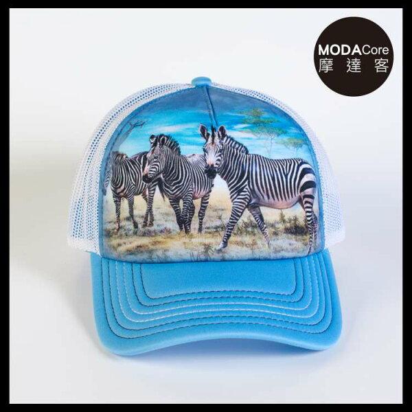 【摩達客】(預購)美國進口TheMountain斑馬群聚藝術棒球帽網帽5-Panel新五分割帽