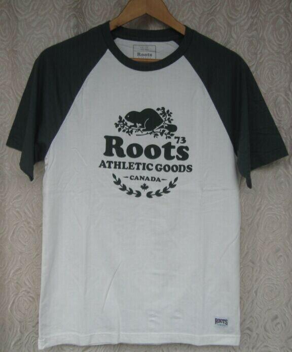 vivi shop 現貨特惠-男成人-加拿大ROOTS專櫃正貨品牌 圓領短袖T恤 純棉休閒T恤