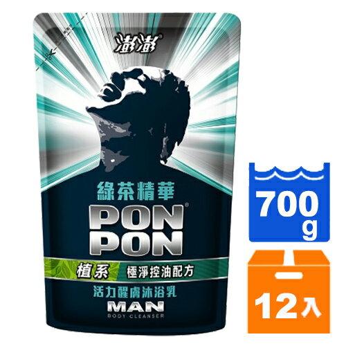 澎澎MAN 綠茶多酚 活力煥膚沐浴乳 補充包 700g (12入)/箱 【售完為止】