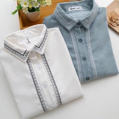 滾邊刺繡造型長袖襯衫