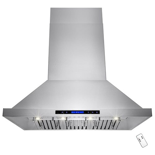 "42"" Stainless Steel Island Mount Range Hood Dual Motor Touch Screen Display Light Lamp 0"