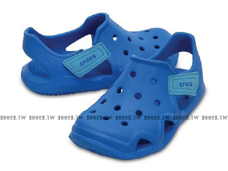 Shoestw【204021-456】CROCS 卡駱馳 鱷魚 輕便鞋 拖鞋 涼鞋 海洋藍 童鞋款