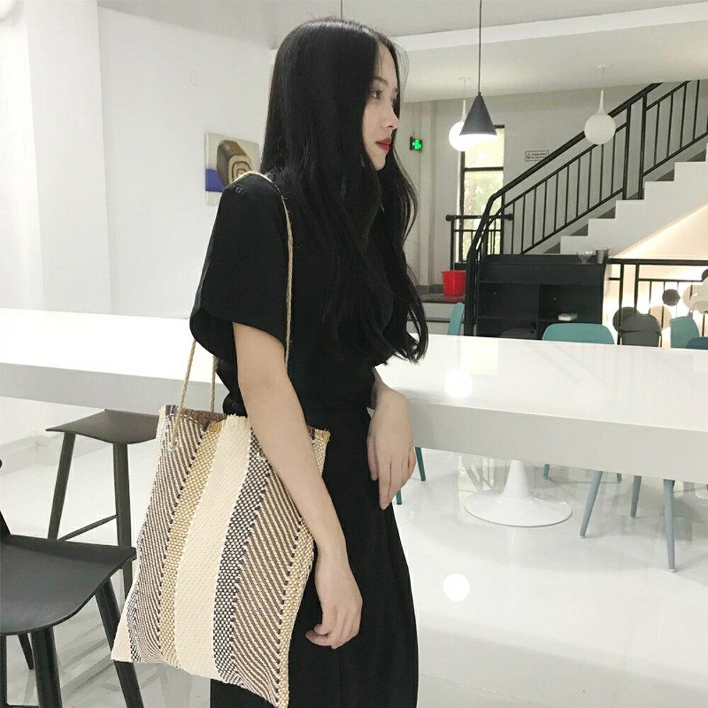 韓系chic編織小眾包包簡約百搭書包女購物袋民族風托特包手提包女 koko時裝店