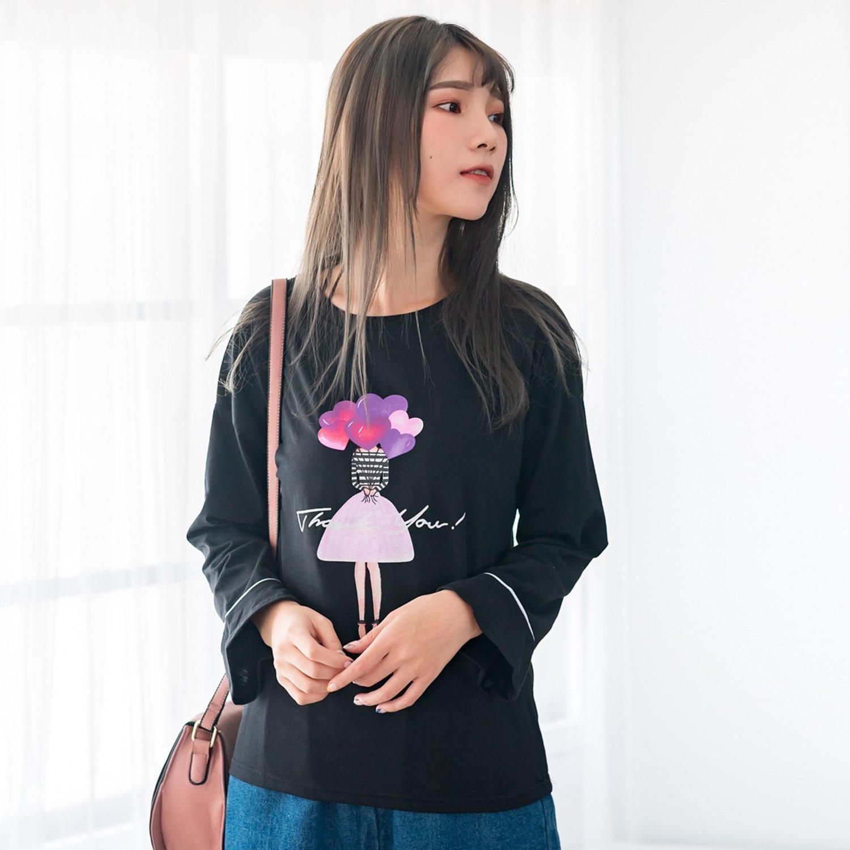 棉T--青春甜美可愛娃娃愛心氣球印花鬆修身百搭圓領長袖T恤(黑.粉L-3L)-F128眼圈熊中大尺碼 0