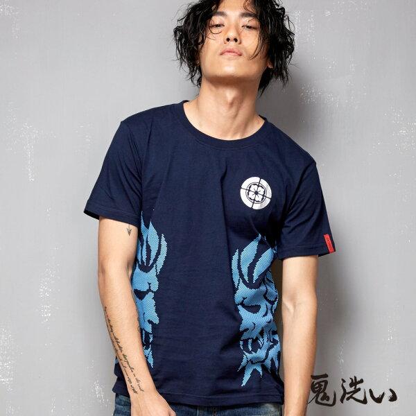 【限時5折】雙效果鬼頭印花短袖T恤(丈青)-BLUEWAYONIARAI鬼洗