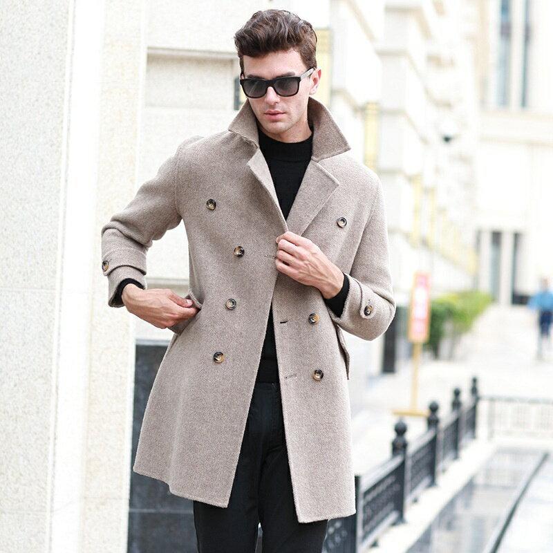毛呢大衣中長版風衣-純色雙排扣翻領羊毛男外套2色73wk28【獨家進口】【米蘭精品】 1