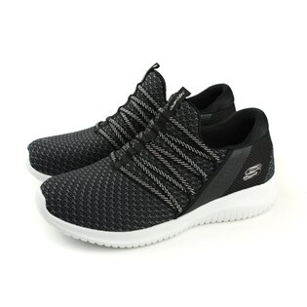 SKECHERS運動鞋懶人鞋女鞋針織黑色12849BKWno860