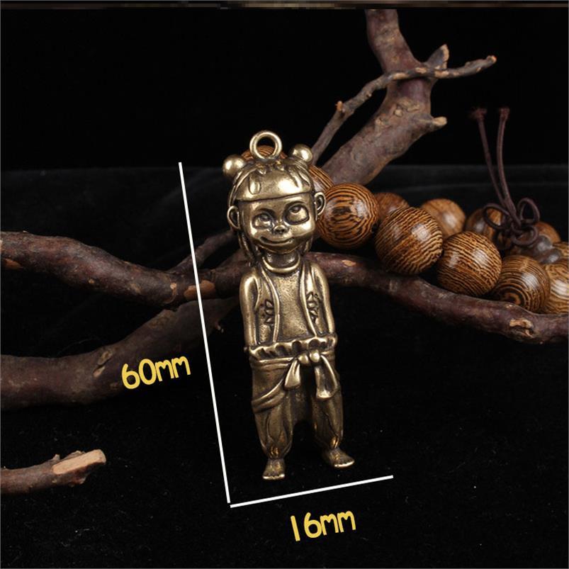 新品黃銅哪吒汽車鑰匙扣純銅實心哪吒鑰匙扣箱包掛飾哪?魔童降世1入