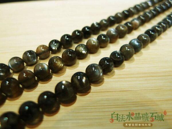 白法水礦石城巴西-天然黑色太陽石6-6.5mm串珠條珠首飾材料(團購區九折)-3條1標
