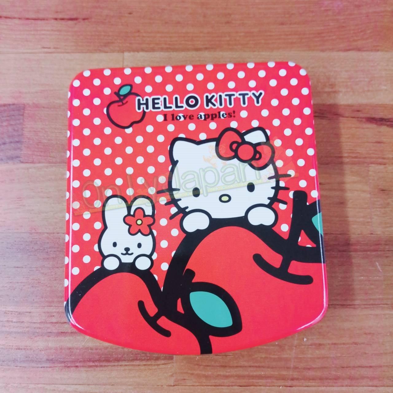 19020100093 便條紙鐵盒-KT蘋果白點紅 凱蒂貓kitty memo紙 便籤 辦公室小物 便條紙 文具 真愛日本