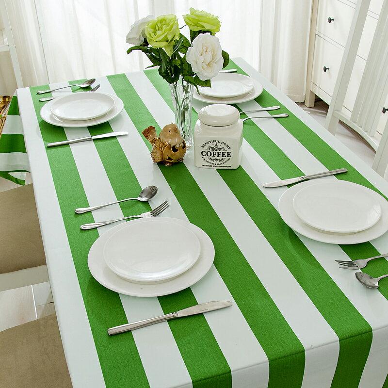 簡約現代條紋 布藝棉麻清新格子桌布 鞋櫃蓋布 桌巾/單售-綠色