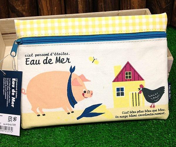 =優生活=日本進口 動物小豬 小雞可愛手繪風格筆袋 收納袋 化妝包