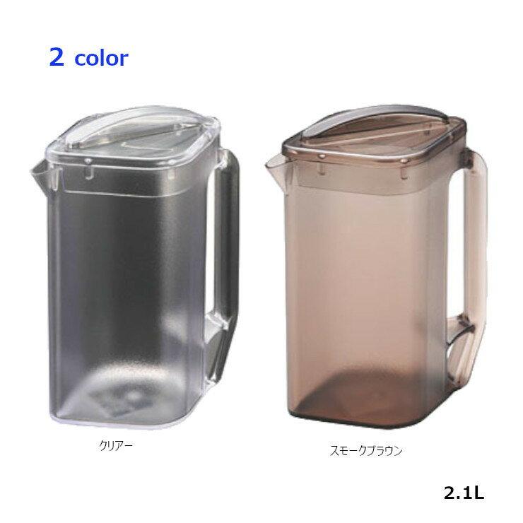 日本製本間冬治工業 弁慶單層強力方形冷水壺2.1L(棕色-透明)