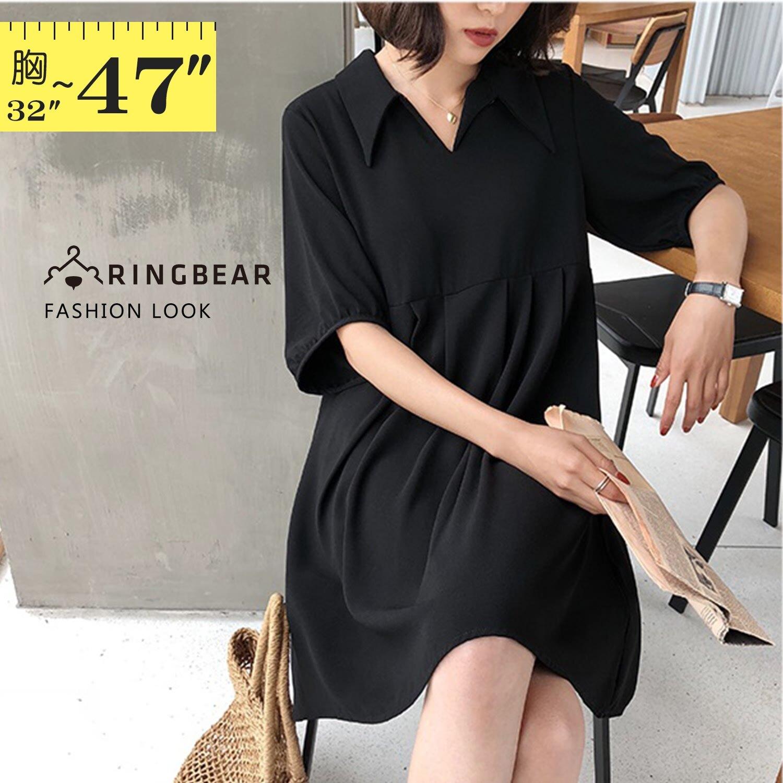 長上衣--優雅氣質翻領襯衫V領波浪下擺短袖高腰連身裙 / 洋裝(黑M-3L)-D504眼圈熊中大尺碼 1